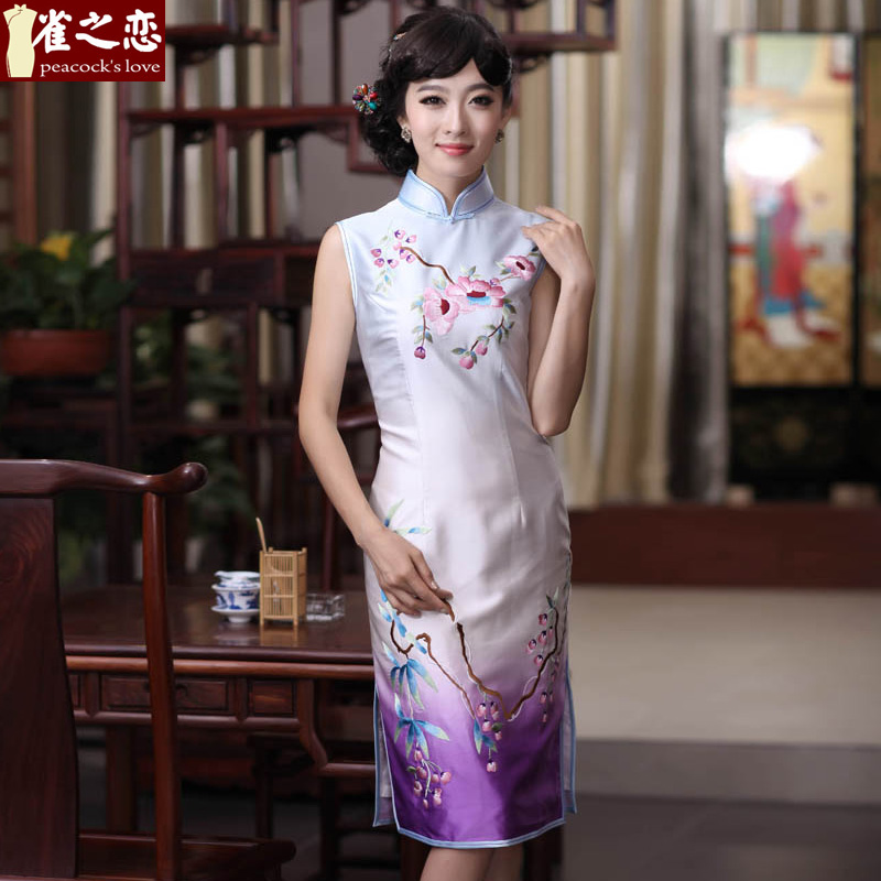 Love of birds in the past�2015 spring outfits Seongnam Ilhwa Chunma new stylish improved manually push embroidered heavyweight Silk Cheongsam QD356 figure�S