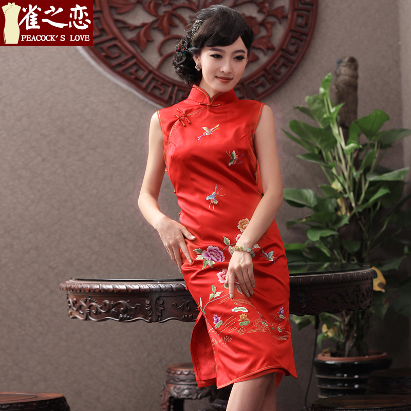 Love birds by this time next year, classic and elegant hand embroidered push heavyweight Silk Cheongsam Red燫ed燲XL toasting champagne QD343 services