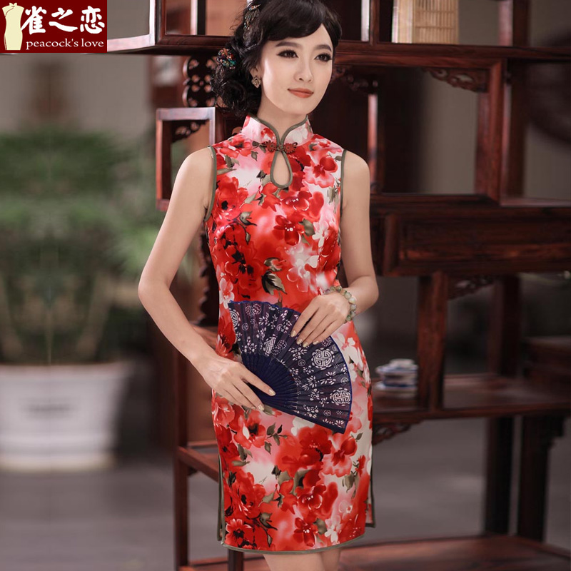 Love of birds erotic ferry聽spring 2015 new sleeveless style Silk Cheongsam improved聽QD351聽SUIT聽XXL