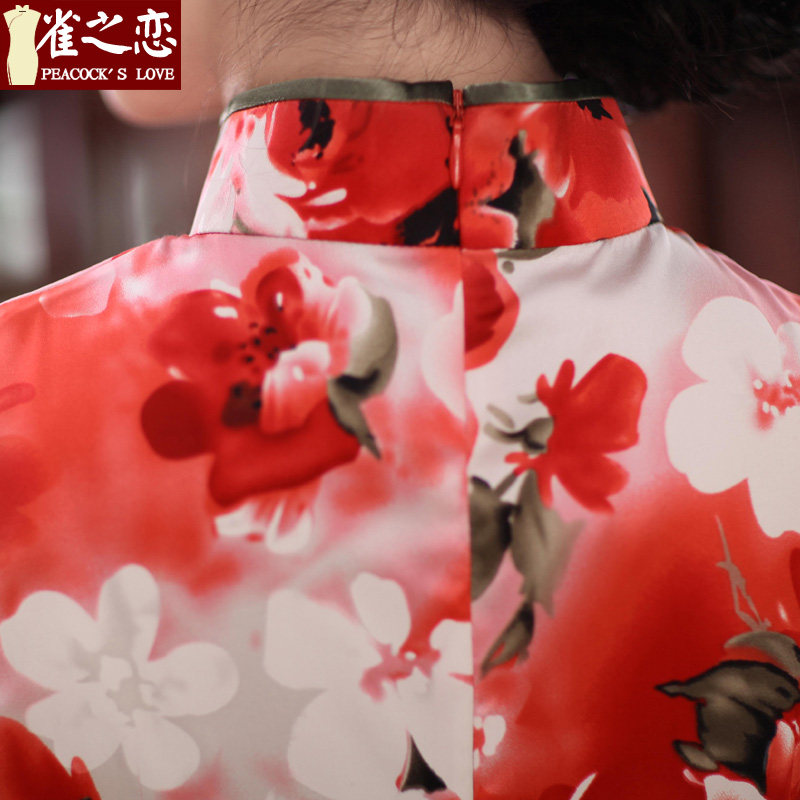 Love of birds erotic ferry聽spring 2015 new sleeveless style Silk Cheongsam improved聽QD351聽SUIT聽XXL, birds Love , , , shopping on the Internet