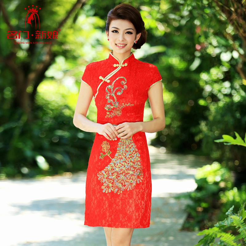 Name the new bride door lace qipao stylish wedding red bows to the marriage of qipao short 202 M