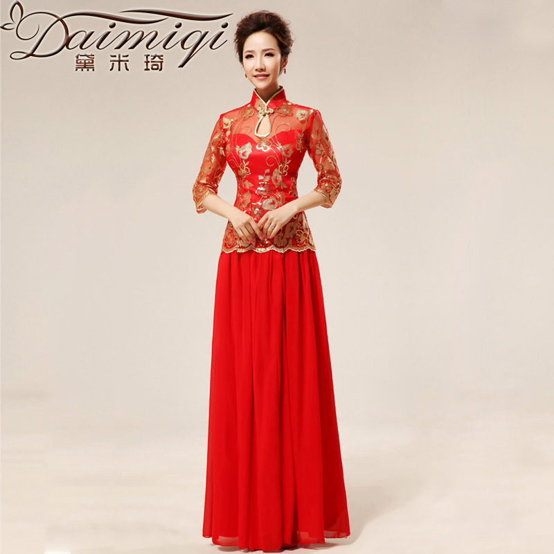 Doi m qi new red retro sexy lace marriages qipao stylish improvement cuff qipao cheongsam red燲XL toasting champagne