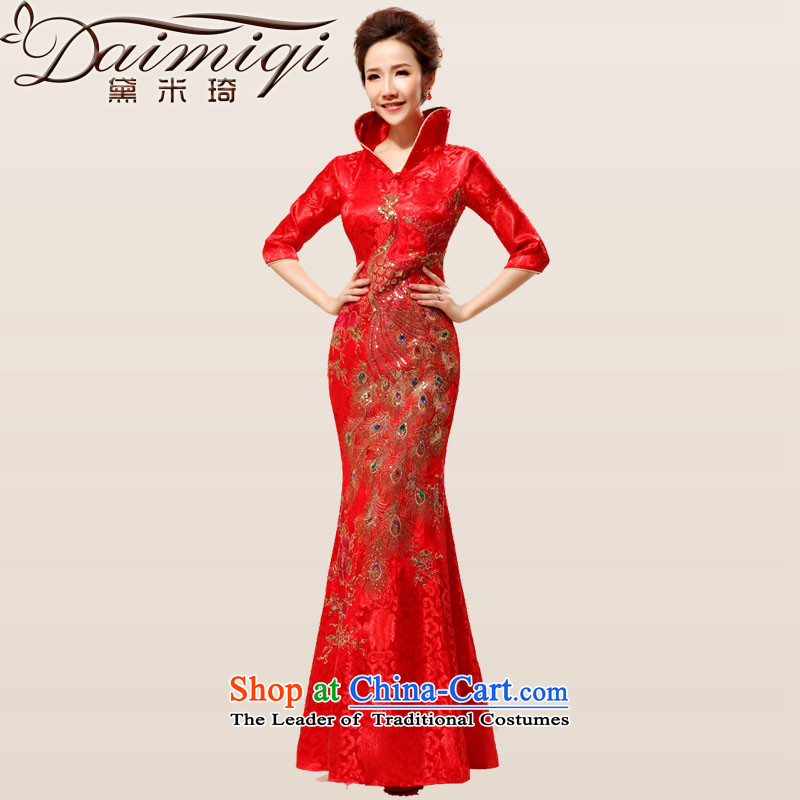 Doi m qi 2014 new re-door onto a mock-neck design of the ceremonial dress red bows boxed dress cheongsam red燣
