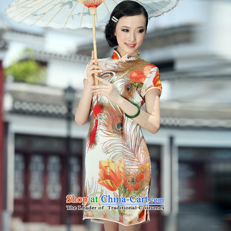Looking back over the love of birds with a laugh in the爏ummer of 2013 new minimalist improved short of Qipao QD033 SUIT燲XL