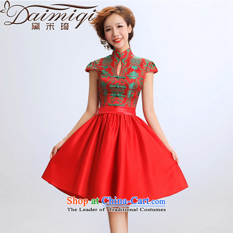 Doi m qi 2014 new stylish qipao gown skirt improved short of marriages wedding dresses red color picture?XXL