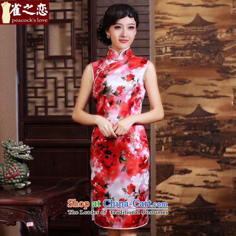 Love of birds silk improved facade lotus stylish daily short sleeveless qipao QD187 RED聽M