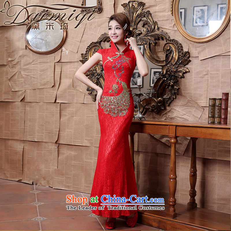 Doi m qi wedding dresses cheongsam red lace collar Foutune of qipao bows services red crowsfoot燬