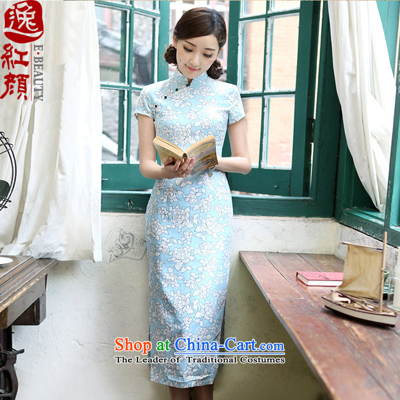【 Yat-young lady- Ching New Stylish retro improved qipao linen long cheongsam dress suit M