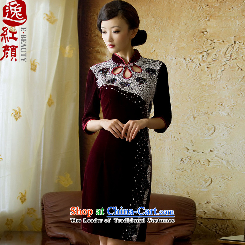 �� Yat lady health Fenglin night long-sleeved retro Kim qipao autumn in the wool cuff new cheongsam dress red?S