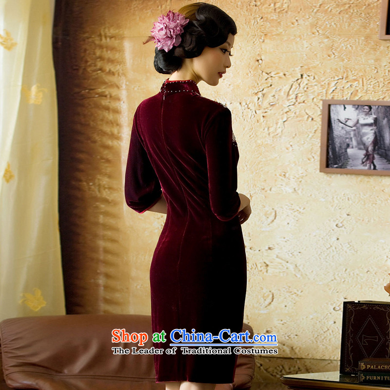 【 Yat lady health Fenglin night long-sleeved retro Kim qipao autumn in the wool cuff new cheongsam dress red S, Yat Lady , , , shopping on the Internet