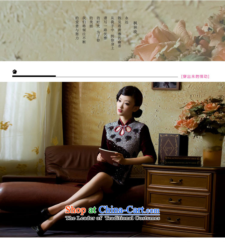 【 Yat lady health Fenglin night long-sleeved retro Kim qipao autumn in the wool cuff new cheongsam dress red S picture, prices, brand platters! The elections are supplied in the national character of distribution, so action, buy now enjoy more preferential! As soon as possible.