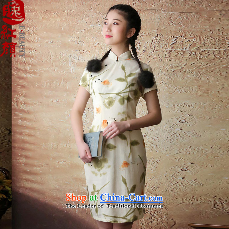 ? Yat lady health Asakusa 2015 new stylish improved qipao summer short skirt suits, Retro qipao XL
