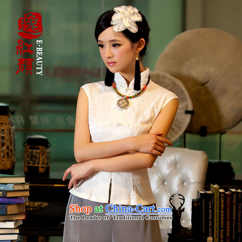 ? Yat- book ink Yun archaeologist makes China wind summer short-sleeved T-shirt female Sau San ethnic lace sleeveless�L01燱hite燲L