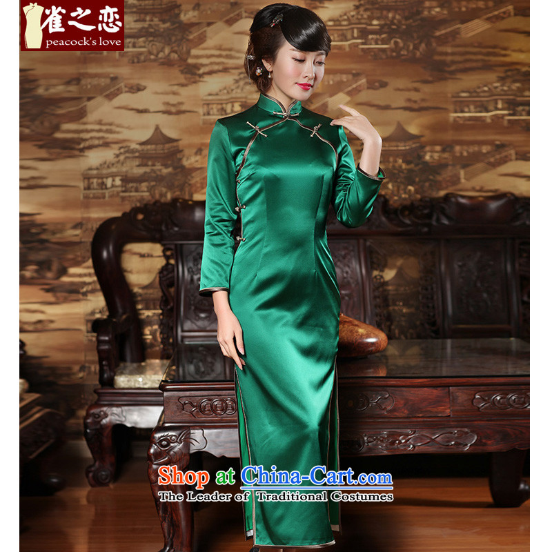 Love of birds Cayman Chor燬pring 2015 9 cuff solid color long Silk Cheongsam QC371 green燣