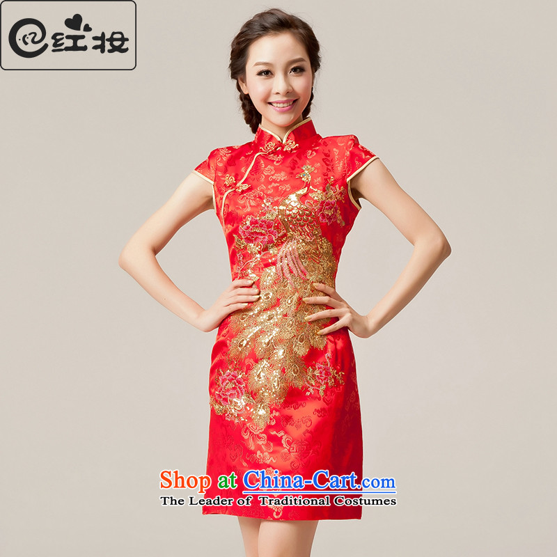 Recalling that hates makeup and spring and summer Wedding Dress Short of bride red qipao marriages bows services for summer qipao Q12033 stylish red燣