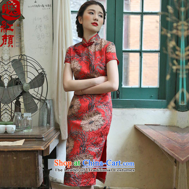�� Yat Fung flower of lady health qipao new 2015 Spring_Summer Load Improvement of nostalgia for the autumn and winter long long skirt suits qipao?XL