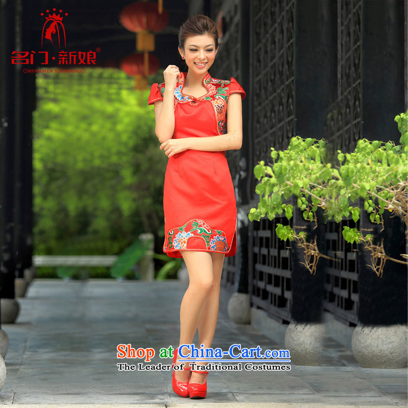 A new pattern 2015 bridal dresses and stylish wedding red bows to marriage, short qipao 254 RED燤