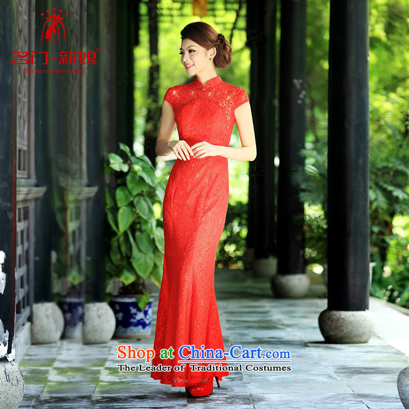A new bride 2015 lace qipao stylish wedding red bows to the marriage of Qipao 201 red燣