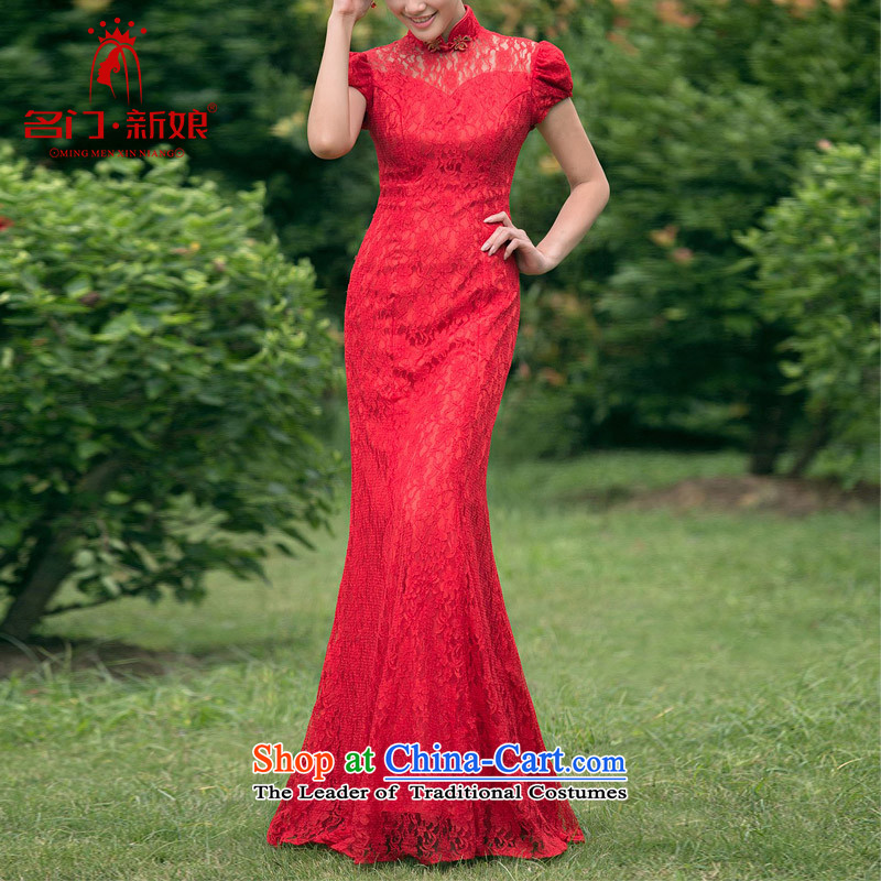 A new bride 2015 lace qipao stylish wedding red bows to the marriage of Qipao 104 red燣