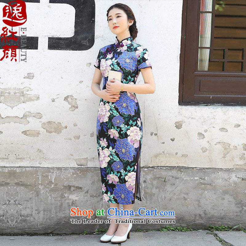 ? Yat- Blue Peony improvements lady Stylish retro long爏pring and summer 2015, the Republic of Korea qipao new improved cheongsam dress suit燤