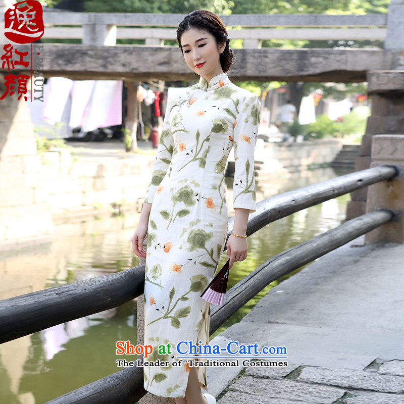 A Pinwheel Without Wind Yat Asakusa?spring and autumn 2015 cotton linen dresses in long skirt long-sleeved high of the forklift truck and Stylish retro cotton linen dress?XL