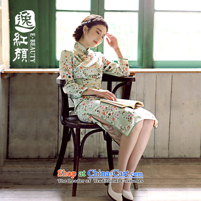 The elections as soon as possible so Ying Yat Lady Silk Cheongsam New Silk Cheongsam dress improved stylish fall inside the Green Spring_Summer Snow woven fabric 2XL