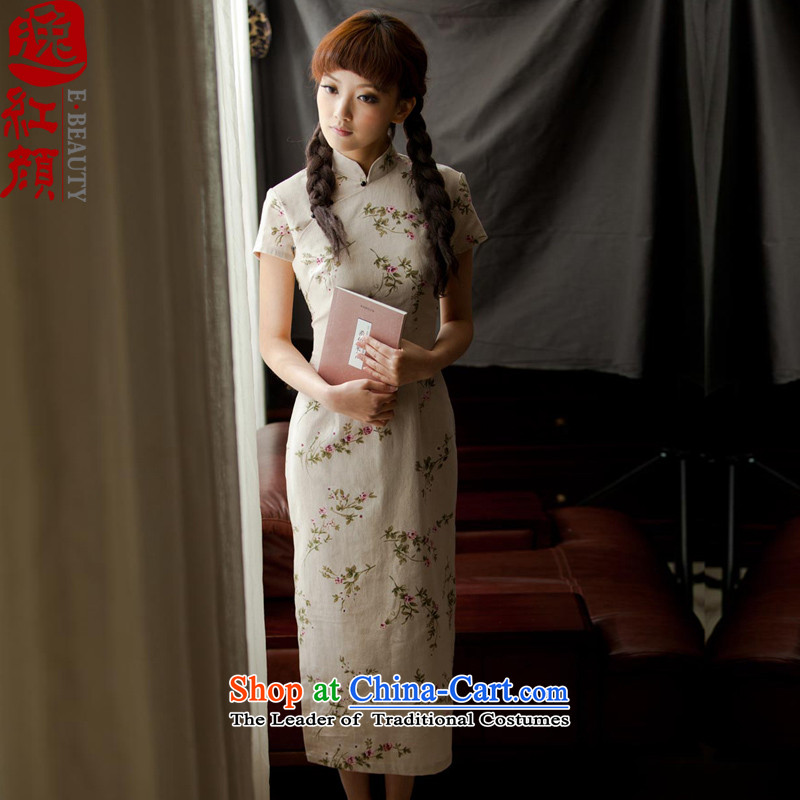 �� Yat lady health day lilies new summer cotton linen flax long retro qipao stylish improved cheongsam dress day lilies WJ003ZW4 S