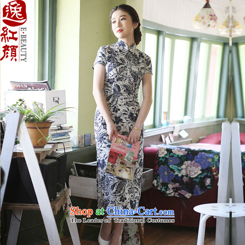 A Pinwheel Without Wind--jae _Yat-lan saika commuter cotton linen dresses Summer 2015 New Stylish retro long cheongsam dress suits improved short-sleeved L