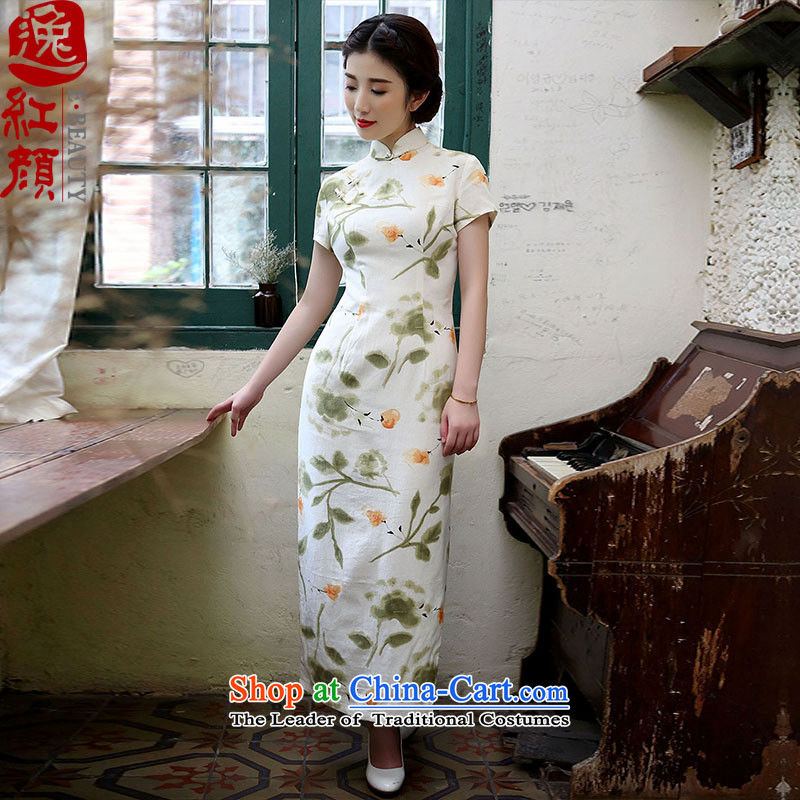? Yat lady health Asakusa spring and summer 2015 replacing cotton linen long cheongsam dress short-sleeved high on the forklift truck Stylish retro Suit M