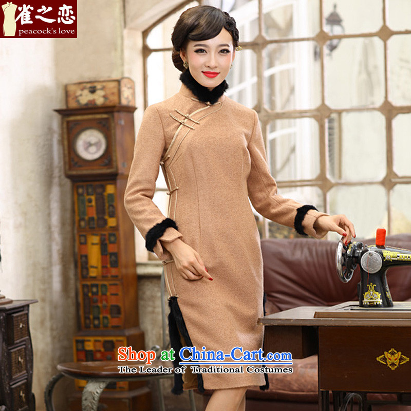 Love of birds to the west of clearance 2015 Spring New cheongsam dress warm and stylish improved gross QC391 qipao? And color XL