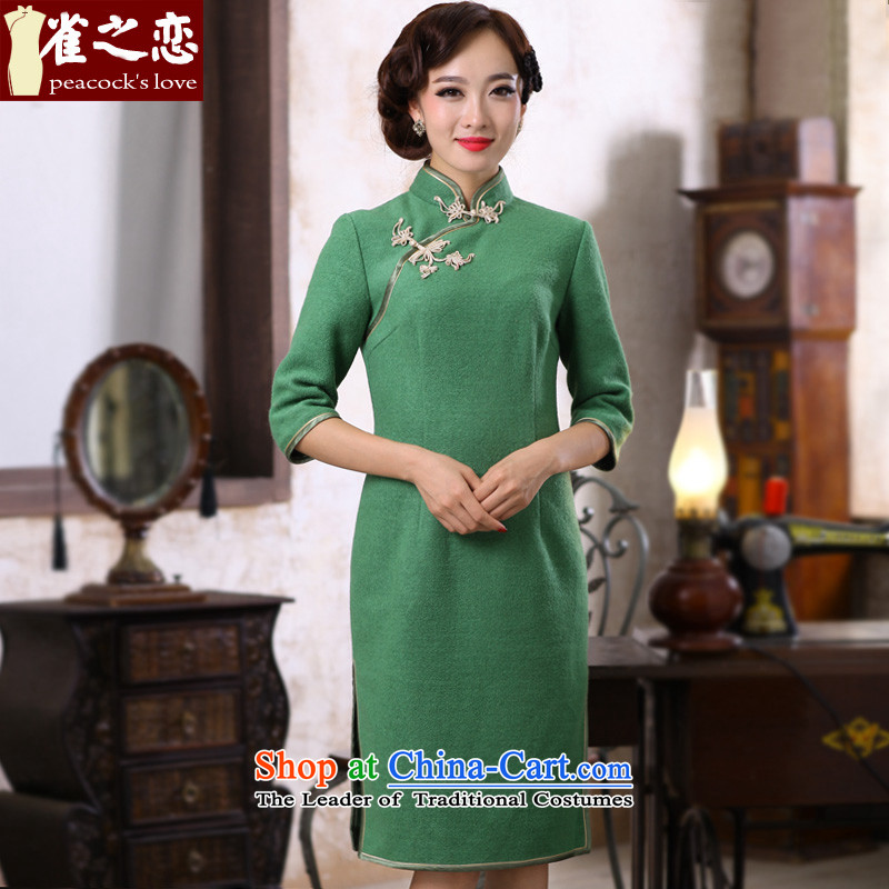 Love of birds hiding another autumn?2015 spring, the new improved stylish colors pure?QC395 qipao??green?L