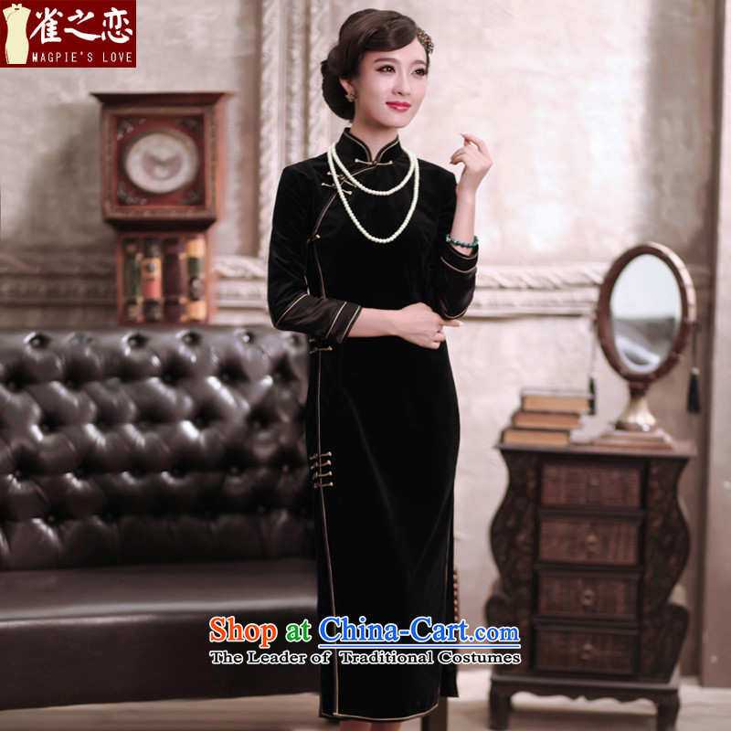 Love of birds discerning heart?spring 2015 new elegant qipao improved long wool QC375 black?L