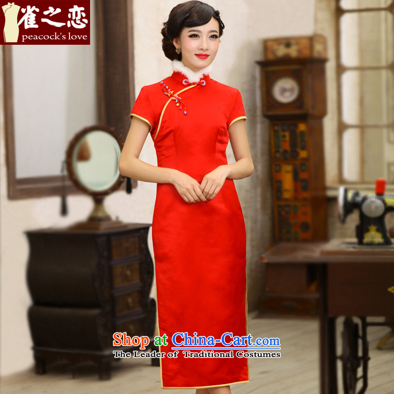 Love of birds,聽2013 Logo pickup winter clothing new thick red stylish improved qipao QC397 RED聽S