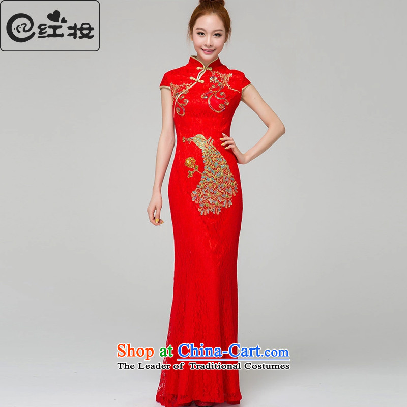 Recalling that the maternal and child marriages qipao red new red long skirt and stylish package shoulder cheongsam New Sau San bows services Q13637 RED S