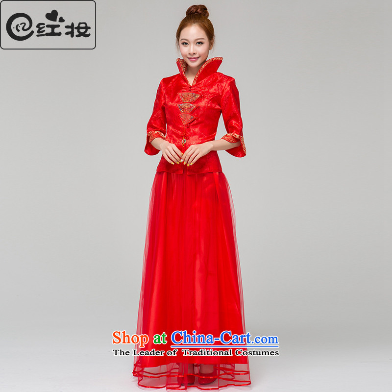 Recalling that hates makeup and the spring and summer months long-sleeved qipao gown bows damask long marriages red bows services Q13634 RED燲L