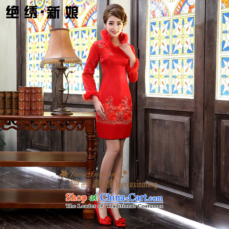 Embroidered bride winter winter is by no means new long-sleeved clip cotton wedding dresses cheongsam red marriages bows services red燬燬uzhou Shipment