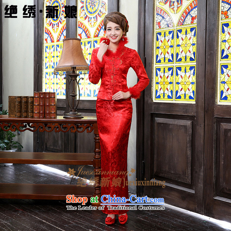 Embroidered is the new bride bride winter bows long service improvements to align the long-sleeved red retro winter clothing winter cheongsam red燲XL燬uzhou Shipment