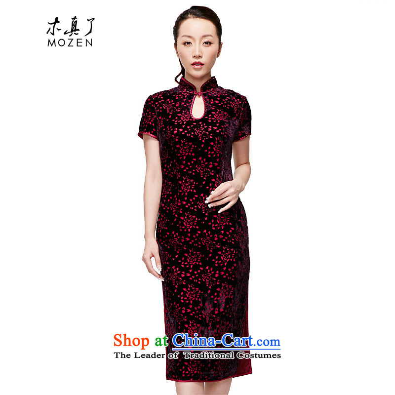 The 2015 Spring wood really summer new dresses elegant qipao skirt mother qipao retro 11659 16 deep purple XXXL