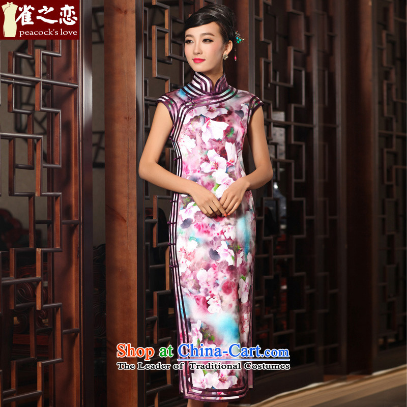 Birds of the original Dream traditional feel three-tier package side length of crescent cuff Silk Cheongsam QD407 SUIT燲XL