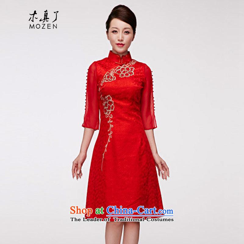 Wooden spring of 2015 is really the new bride cheongsam dress embroidery 7 cuff dress female package mail 01204 05 red XXL