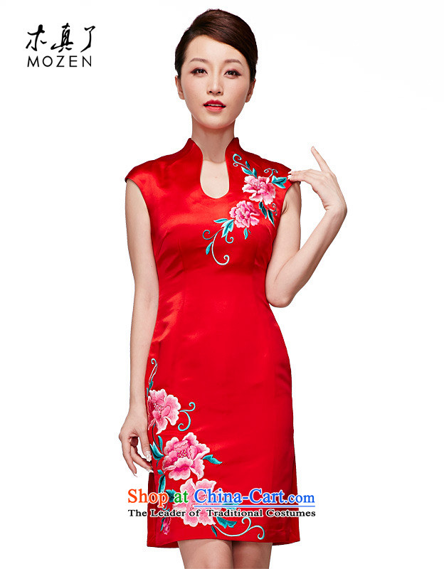 Wooden spring and summer of 2015 really new Chinese wedding dresses elegant retro embroidery short of dress package mail 22062 04 red M