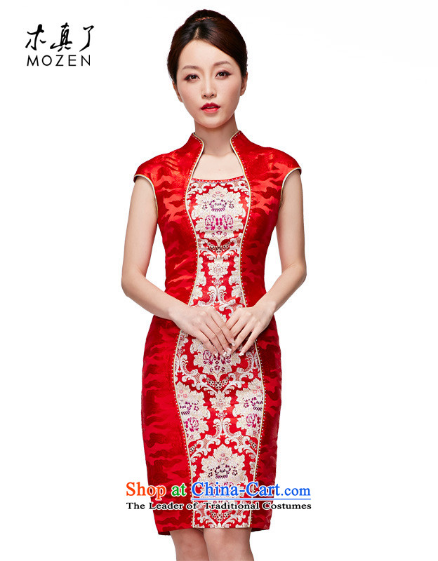 Wooden spring and summer of 2015 really new Chinese wedding dress embroidered bride cheongsam dress temperament female skirt�891 05 red燲L