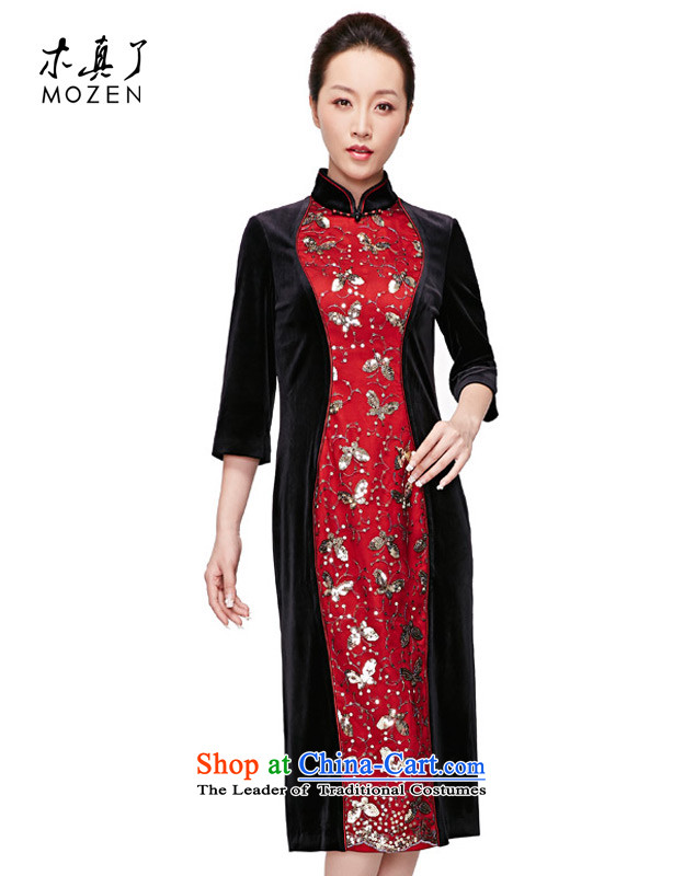 Wooden spring of 2015 really new and long elegant stitching original qipao gown package mail banquet聽22021 01 black聽L