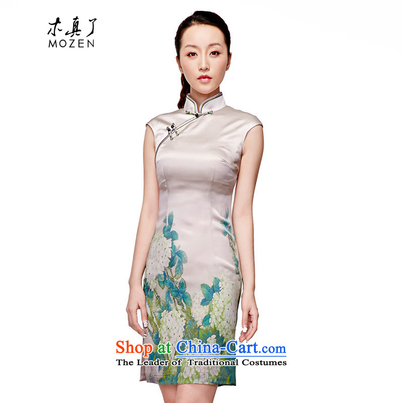 Wooden spring and summer of 2015 really new Silk poster elegant qipao stylish Chinese Dress Short Female?11519 15 green?XL