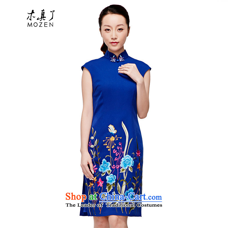 Wooden spring and summer of 2015 really new cheongsam blue embroidery Chinese cheongsam dress sense of improvement of the skirt?32346 11 blue?Xxl(b)