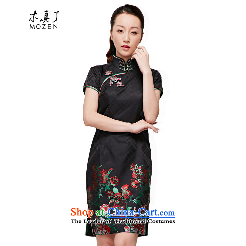 The nostalgia for the improvement of wood really cheongsam dress 2015 autumn and winter new Tang Dynasty Chinese qipao short-sleeved blouses and China wind NO.22038 visitor 01 Black燲L