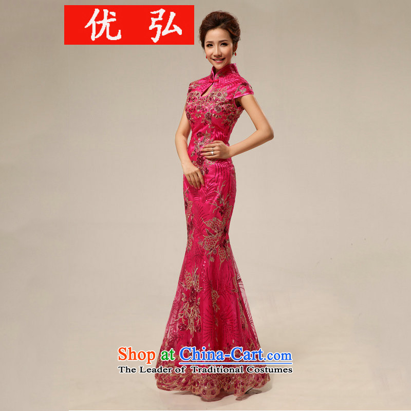 Optimize Hong-Chinese qipao bride bows services retro long qipao hotel courtesy etiquette cheongsam dress summer qipao XS7129 marriage rose red?M