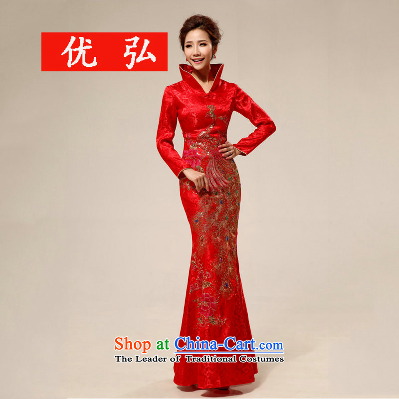 Optimize new Stylish retro-hong lace l marriages qipao XS7126 RED?XXL