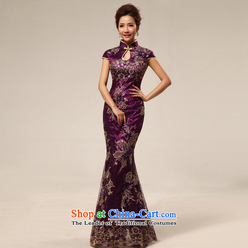 Optimize video new bride bows services 2015 crowsfoot long marriage cheongsam dress Sau San XS7124 PURPLE?L