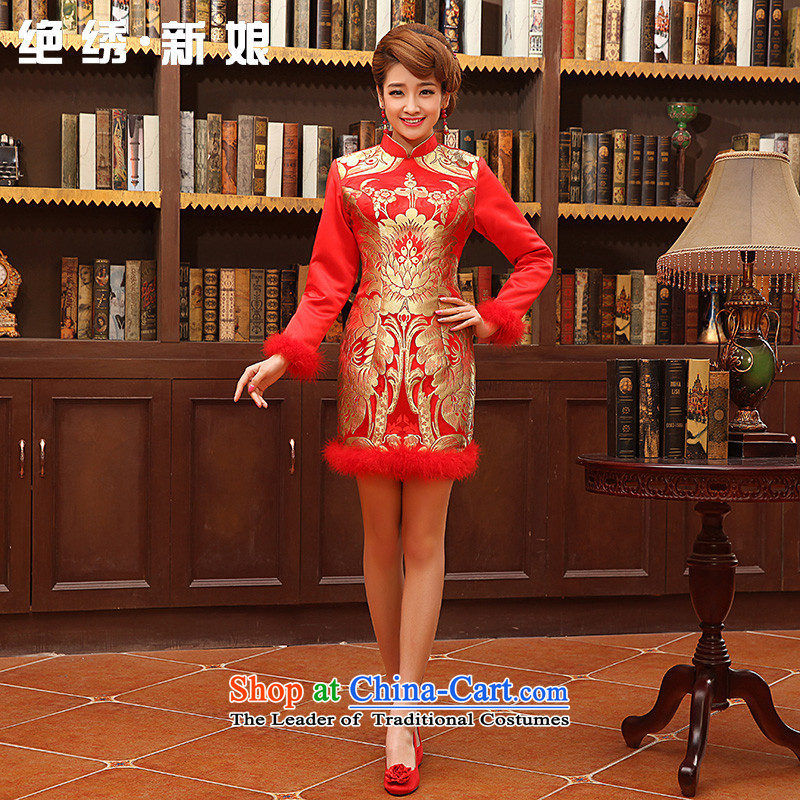 No new 2015 bride embroidered married girl brides marriage long-sleeved cotton short of qipao red bows services winter RED M Suzhou Shipment